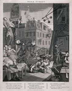 A busy street corner with traders stopping for a tankard of beer and an artist painting a pub sign. Engraving by T. Cook, c. 1800, after W. Hogarth.
