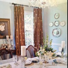 Blue and brown dining room