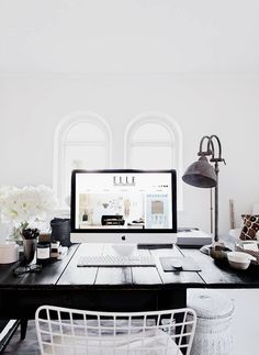 black + white work space. /