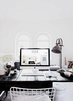 black + white work space. /