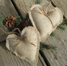 Rustic burlap heart ornaments