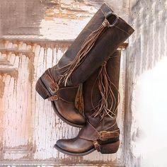 1e33ba9364009 Women Vintage Tassel Knot Knee High Boots