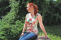 To download this pattern free of charge, click on: Download Free > Continue To Payment > (€0 - no payment required) > Create an account and log into your account > Download the PDF!  This is a 3 in 1 pattern: a T-Shirt, dress and tank top, with two collar options. You can choose between an open, round collar or a closed, lace collar. Feel free to add your own decorative elements - like piping, for example. This is an ideal pattern for creating clothes which are easily-adaptable for every…