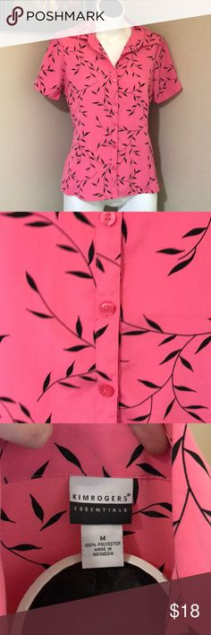 Bubblegum Pink and Black Fern Blouse Size Medium Comfortable short sleeve button down   A beautiful bubblegum pink with black accent Kim Rogers Tops Button Down Shirts