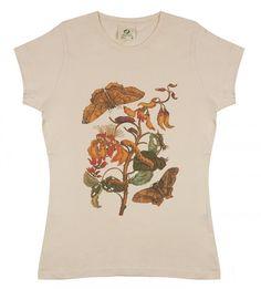 butterflies meriam sciart biology organic t-shirt beige