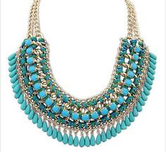 Eyourlife Hot Fashion Retro Jewelry Pendant Knit Chain Choker Chunky Statement Bib Necklace Blue Fashion and Retro Perfect for dressing up any clothes Material: Alloy+Turquoise Beads Bib Statement Necklace Package Beaded Choker Necklace, Bohemian Necklace, Crystal Choker, Collar Necklace, Collar Chain, Gold Necklace, Layered Necklace, Strand Necklace, Colar Fashion