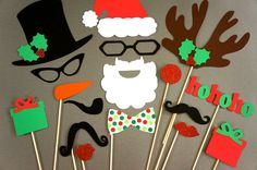 Christmas Photo Booth Props - 17 piece set - GLITTER Photobooth Props - Christmas Photo Props. $36,00, via Etsy.