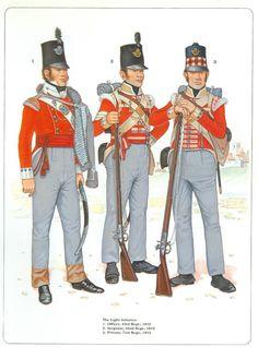 Ufficiale del 43 rgt., sergente del 52 rgt. e fuciliere del 71 rgt. fanteria leggera inglese
