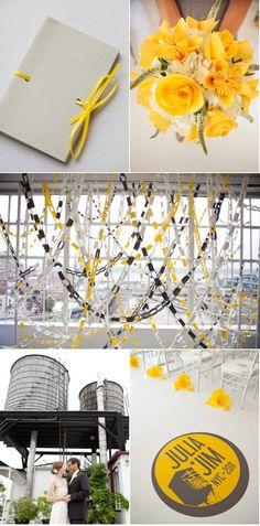 beautiful yellow and grey wedding
