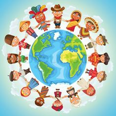 Multicultural character on planet earth cultural diversity traditional folk stock vector on Colourbox