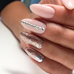 21 Ideas of Sweet Nude Nails With Glitter That Every Girl Will Love ❤ Best Ideas for Nude Nails with Rhinestones picture 1 ❤ Nude nails with glitter is that perfect combination that can suit any occasion – be it a day at the office or a fancy party to attend. https://naildesignsjournal.com/sweet-nude-nails-with-glitter/ #naildesignsjournal #nails