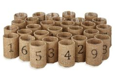 diy burlap votives.  I've done this without the stencil and they are lovely in a farm setting