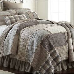 This stylish Quilt features a series of soft plaids in neutral colors taupe, ivory, slate and dove grey. Arranged in large offset panels with ragged edges. Farmhouse Bedding Sets, Farmhouse Quilts, Country Bedding, Farmhouse Ideas, Farmhouse Style, Farmhouse Decor, Rustic Style, Cottage Style, Country Decor