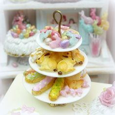 Miniature Easter/Spring Pastries on Three Tiered Cake Stand  #dollhouse #bakery