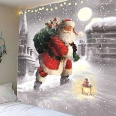 Santa Claus Walking In the Snow Patterned Wall Tapestry