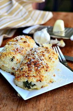 Asiago Spinach & Mushroom Chicken Rollatini from willcookforsmiles.com