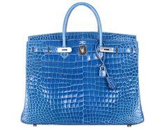 Hermes Mykonos Blue Porosus Crocodile 40cm Birkin Bag with Palladium Hardware