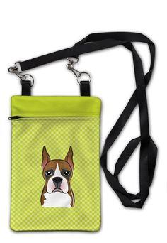 Checkerboard Lime Green Boxer Crossbody Bag Purse BB1285OBDY