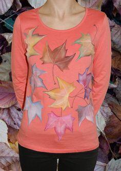 Camiseta  9 hojas secas de colores de Pat-Pil por DaWanda.com Textiles, Sweatshirts, Sweaters, Fashion, Cotton T Shirts, Man Women, Leaves, Slip On, Colors