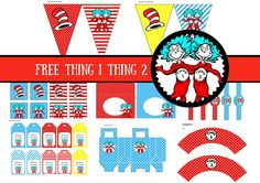 FREE Dr Seuss Thing 1 Thing 2 Twins Party Printable - Birthday Party Ideas for Kids and Adults Free Baby Shower Printables, Free Baby Shower Games, Party Printables, Baby Shower Themes, Shower Ideas, Dr Seuss Free Printables, Dr Seuss Invitations, Peppa Pig Invitations, Baby Shower Invitations
