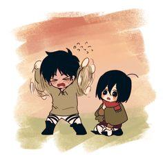 Eren and mikasa 5 Anime, Fanarts Anime, Anime Chibi, Kawaii Anime, Attack On Titan Comic, Attack On Titan Ships, Attack On Titan Fanart, Armin, Mikasa X Eren