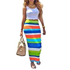Womens Crop Top Midi Skirt Outfit Two Piece Bodycon Maxi Dress White M