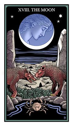 The Moon. The Raziel Tarot: the Secret Book of Adam and Eve (Robert Place & Rachel Pollack). In final published edition will not be roman numerals.