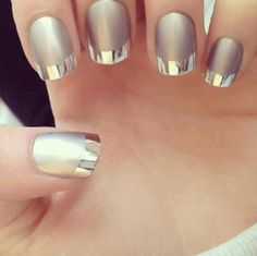 Metallic nails!  #frenchnails #nails #prettynails #greymetallic bellashoot.com