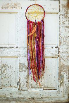 Bohemian Gypsy Dreamcatcher, Hippie Decor, Fair Trade, Red, Purple, Yellow, Boho Home Decor, Wall Hanging, Native American Wall Art on Etsy, $70.00