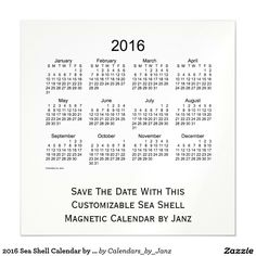 2016 Sea Shell Calendar by Janz 5 x 5 Magnet Magnetic Invitations