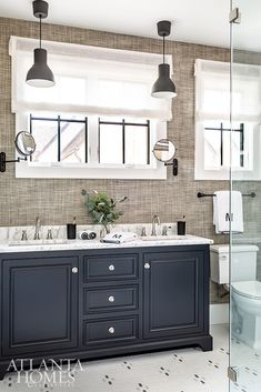 Coley Cuttino implemented a high-contrast black, white and natural color palette. Bathroom Layout, Bathroom Improvements, Shower Tile, Nature Color Palette, Upstairs Bedroom, Home Decor, Bath Countertops, Bathroom Decor, Cabinetry