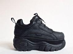90's Grunge Cyber Goth Lace up Sketchers Sneaker Platform Wedge // Mens 10 by FeelingVagueVintage, $98.00