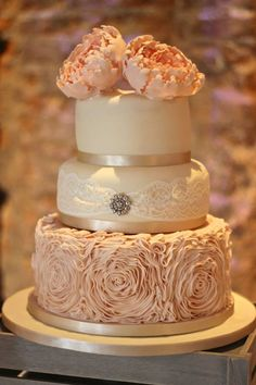 Rose ruffle cake in blush pink with extra large peonies by The Little Cupcakery