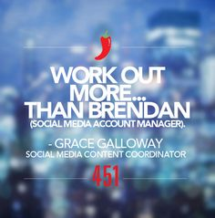 """We're sharing our #451Resolutions for 2015.   Resolution of the Day:   """"Work out more... than Brendan (social media account manager).""""  - Grace Galloway, Social Media Content Coordinator"""