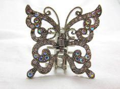butterfly rhinestone hair clip/butterfly by TreasureTrovebyTish, $13.00