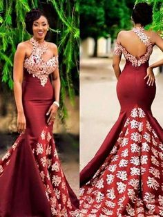 Beautiful Prom Dresses One Shoulder Mermaid Burgundy Chic Prom Dress - Mode africaine robe longue - Nigerian Wedding Dress, Nigerian Dress, African Wedding Attire, African Attire, Nigerian Weddings, African Weddings, African Print Wedding Dress, African Prom Dresses, Latest African Fashion Dresses