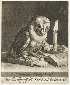 Uil met bril en boeken, Cornelis Bloemaert (II), ca. 1625. Wat baet keers off bril, als den uil niet sien en wil.