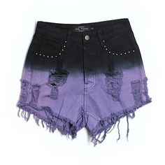 Pre-owned Evil Twin Denim Shorts ($24) ❤ liked on Polyvore featuring shorts, purple, purple denim shorts, jean shorts, evil twin, short jean shorts et denim shorts