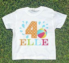 Personalized Splash Beach Ball T-Shirt ANY AGE by ThatPartyChick