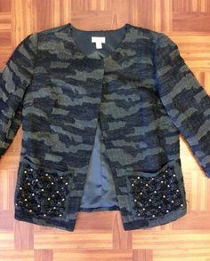 #Logo #Blazer #Jacket #Jeweled | Size 0 | $39! Call for more info (781)449-2500. #FreeShipping #ShopConsignment  #ClosetExchangeNeedham #ShopLocal #DesignerDeals #Resale #Luxury #Thrift #Fashionista