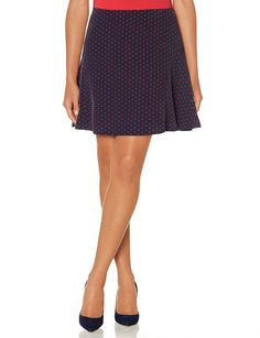 Inset Skater Skirt - navy red polka dot