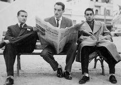 Synval Stocchero (no meio), em início de carreira, na década de 1950