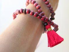 Hot Pink Tassel Mala Necklace  Wood Bead Yoga by ZardeniaJewelry