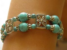 Beautiful 2-row bracelet of beads Turkish turquoise and tibetan silver beads. Bracelet length 18 cm (7 inches) + 4 cm (1.5 inches) the chain.