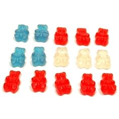 Separate the colors, or shape them into a patriotic flag.  Albanese Gummie Freedom Bears come in red, white, and blue.