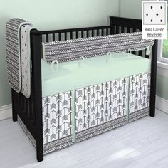 Black and Mint Aztec Arrow crib bedding by Carousel Designs.  Made in the USA.