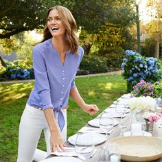 If only tying a dinner party together was as easy as tying this fine stripes blouse. Outfits Primavera, Adventure Style, Office Outfits, Outdoor Entertaining, Mom Style, Modern Classic, Type 1, Talbots, Fitness Fashion