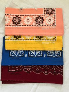 Cotton Bandanas, Vintage Handkerchiefs, Continental Wallet, Color, Colour, Colors