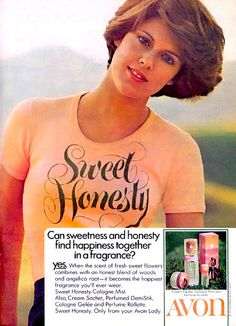 "Dorothy Hamill haircut!!! Also love the catchy phrase ""it becomes the happiest fragrance you'll ever  wear""!"