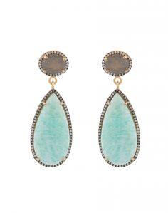 Amazonite and Labradorite Drop Earrings  | Atelier Mon | Halsbrook